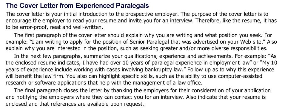 Cover letter tips for experienced paralegals cover