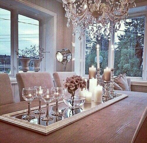 centro de mesa con espejo como base hermosooo dining room centerpiececenterpiece ideasdining