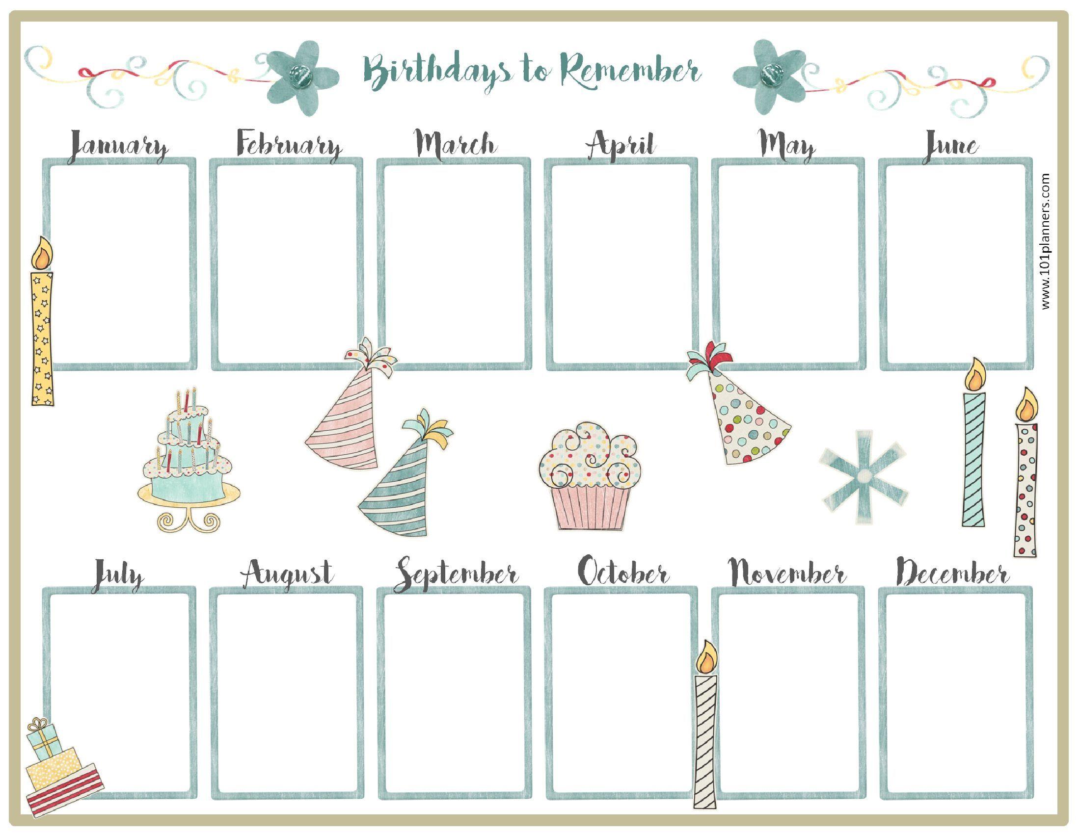 Free Birthday Calendar