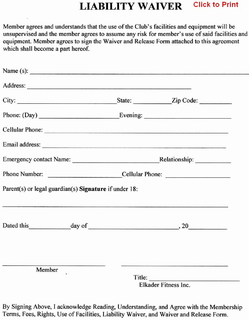 General Liability Waiver form Template Awesome General