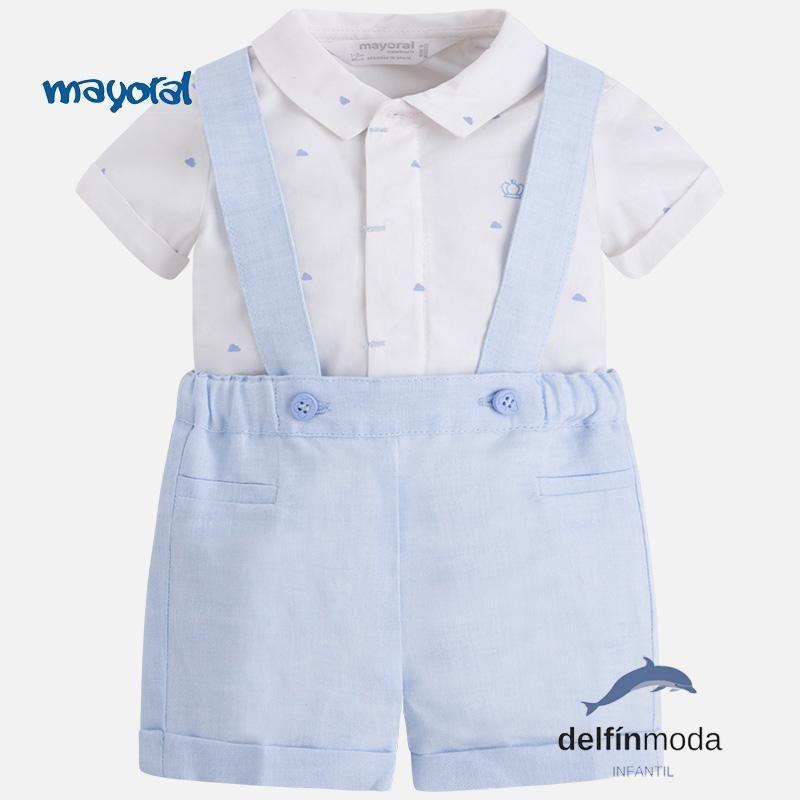 4daeeee18 Conjunto de bebe niño MAYORAL NEWBORN camisa nubes y pantalón corto ...