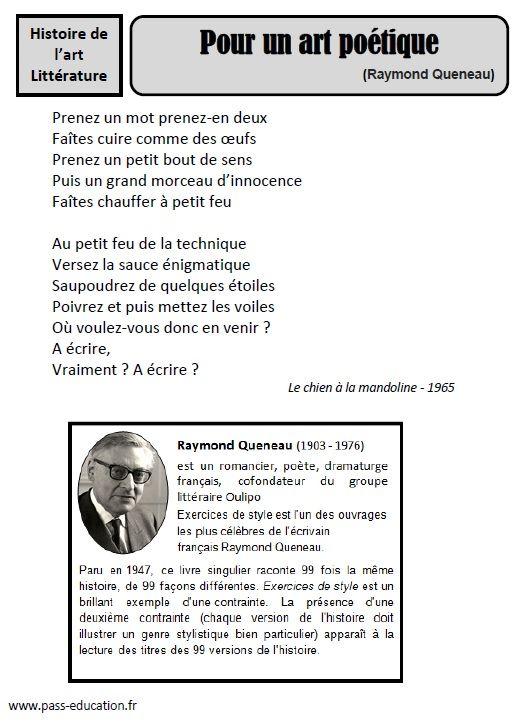 3574bc9dc8f Raymond Queneau - Pour un art poétique Poetique