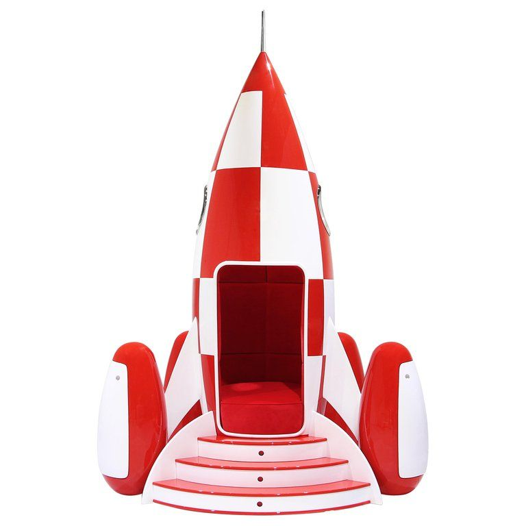 Rocky Rocket Chair In Red Velvet With Glossy Red And White