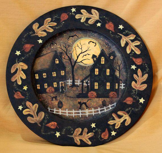 Halloween Folk Art Hand Painted Serving Plate with by Ravensbend $24.00 & Halloween Folk Art Hand Painted Serving Plate with Haunted Houses ...