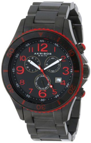 Men's Wrist Watches - Akribos XXIV Mens AK616RD Ultimate Stainless Steel RedandBlack Watch with TripleLink Bracelet * Check this awesome product by going to the link at the image.