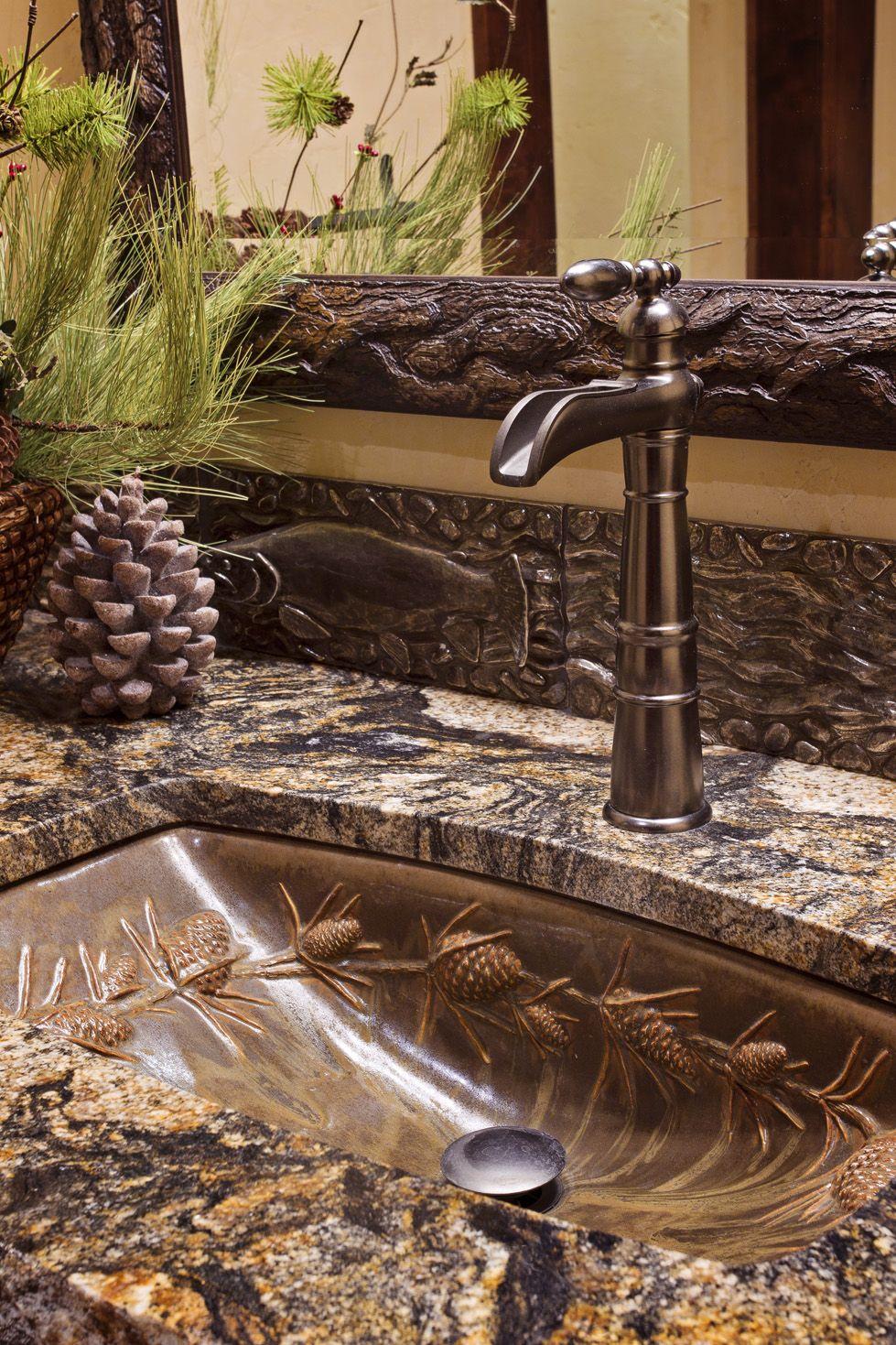 Log cabin bathroom decor - Beautiful And So Ornate Sugar Bowl Custom Residence Frontier Builders Rustic Lodge Decorrustic Cabinsrustic Homeslog