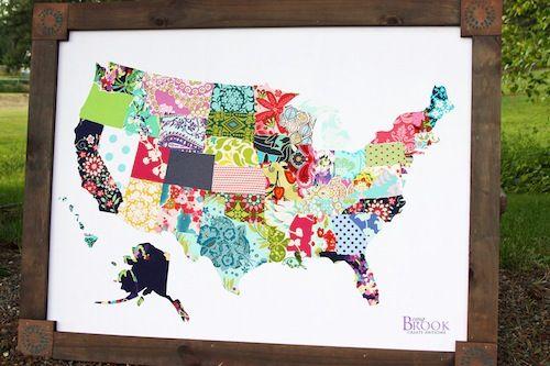 DIY fabric wall map