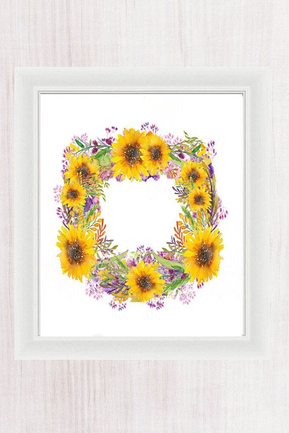 Watercolor Art, Sunflower Wreath, Custom Printable Wall Art, Home ...