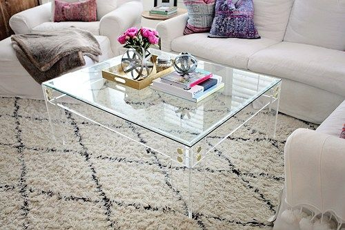 Clear LuciteAcrylic Coffee Table with Brass or Silver Button