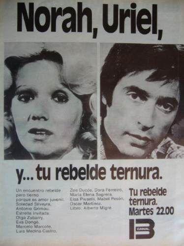"""Soledad Silveyra y Antonio Grimau en una publicidad de la telenovela argentina """"Tu rebelde ternura"""" del Canal Trece de Buenos Aires, año 1976"""