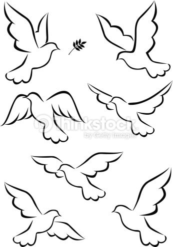 Vector Illustration Of Dove Dove Drawing Bird Drawings Drawings