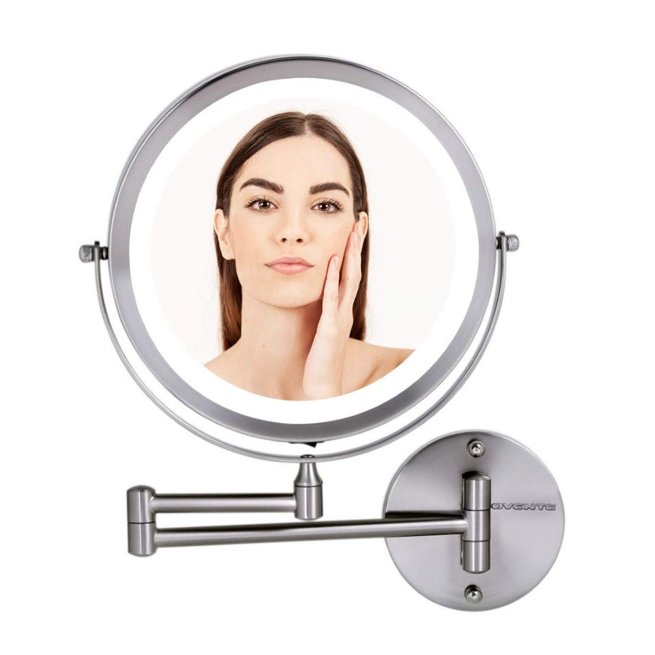 Ovente Wall Mount Makeup Mirror Battery Operated Led Lighted 1x 10x Magnification 8 5 Inch Nic With Images Wall Mounted Makeup Mirror Makeup Mirror Wall Mounted Mirror