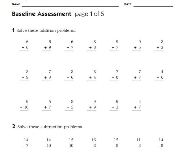 Beginning Of The Year 4th Grade Math Assessment Math Assessment 4th Grade Math Subtraction