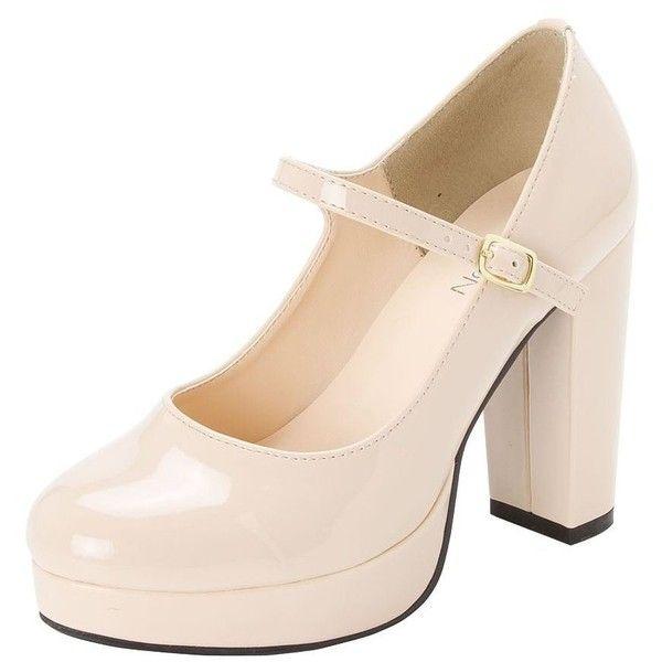 (グッズ)グッズ 11cmヒールストラップパンプス ❤ liked on Polyvore featuring shoes