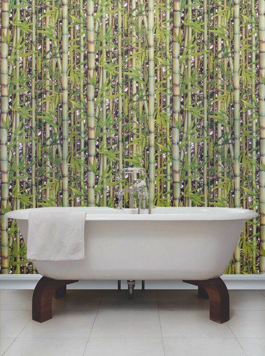 Unusual Bamboo Rainforest Green Wallpaper Suitable For Bathrooms Kitchens