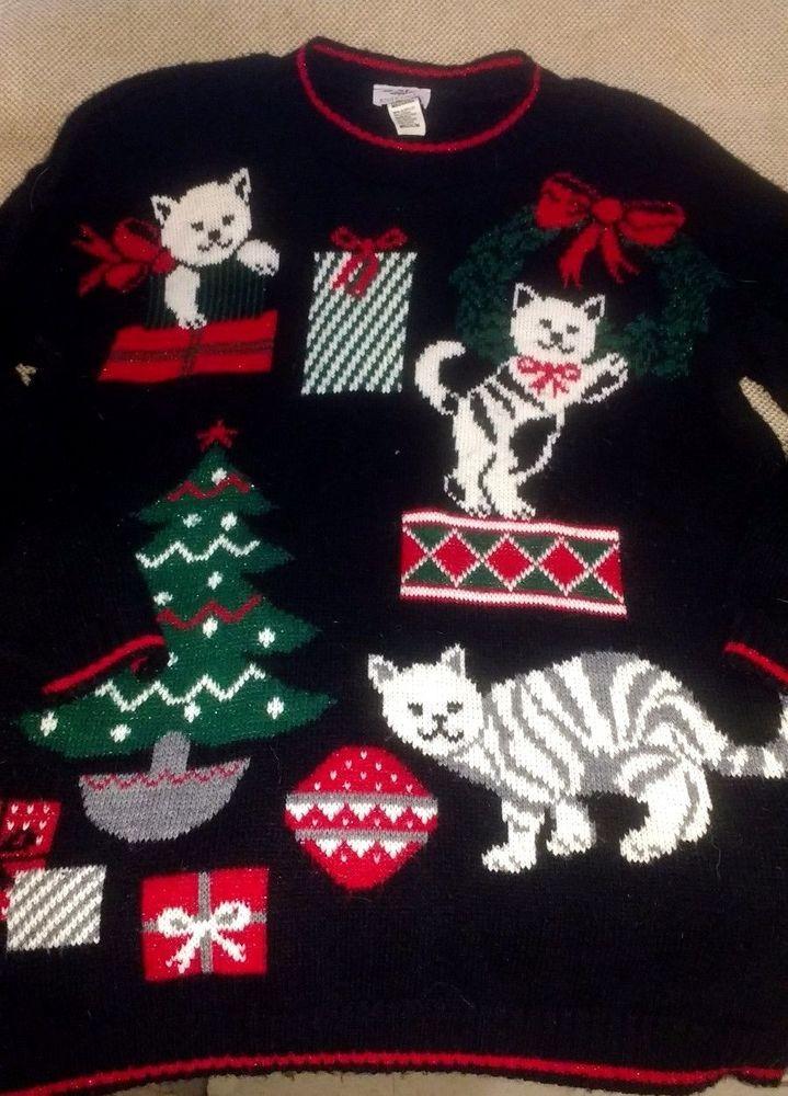 Ugly Christmas Sweater Ladies Medium Kittens Cats Kitty Cat Cute ...