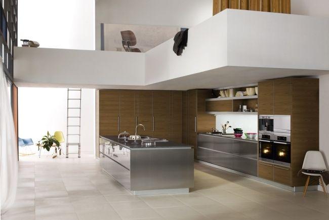 Küchen Aus Edelstahl dada küchen edelstahl kochinsel holz fronten kombination küche
