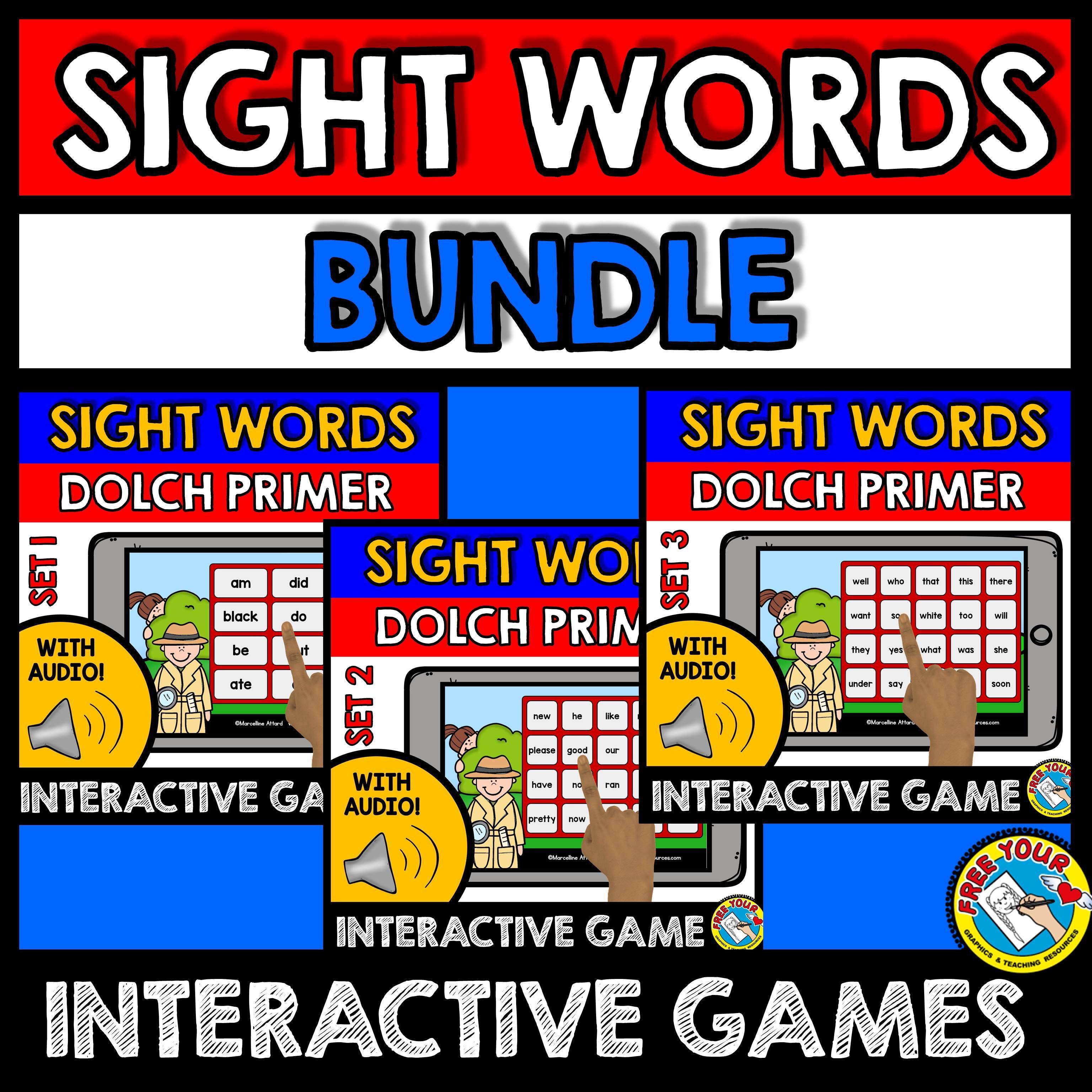 Dolch primer sight words kindergarten games (boom cards