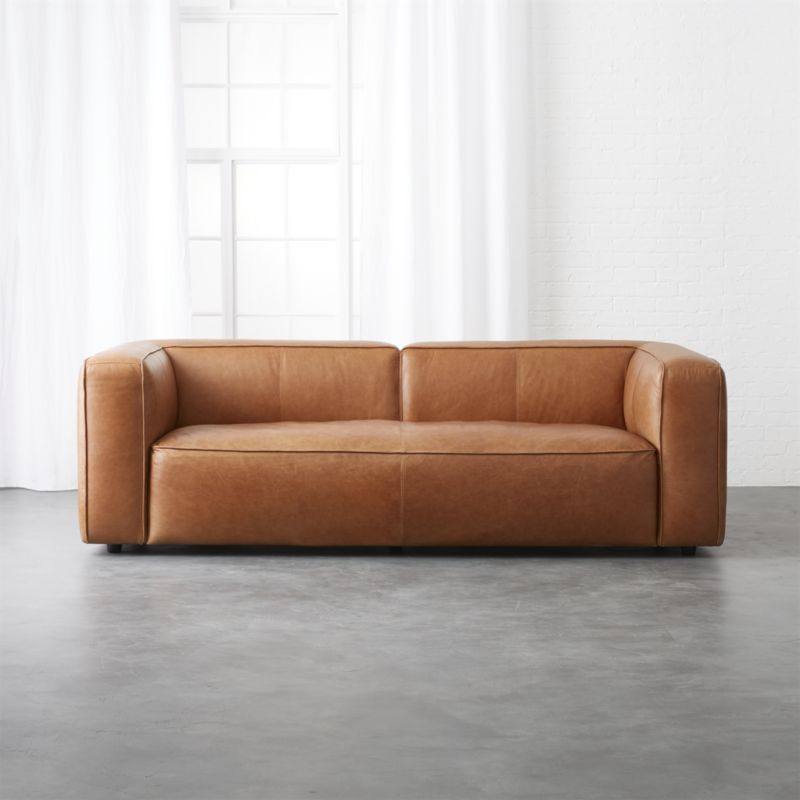 Quality Affordable Furniture: Cognac Leather Sofa, Modern