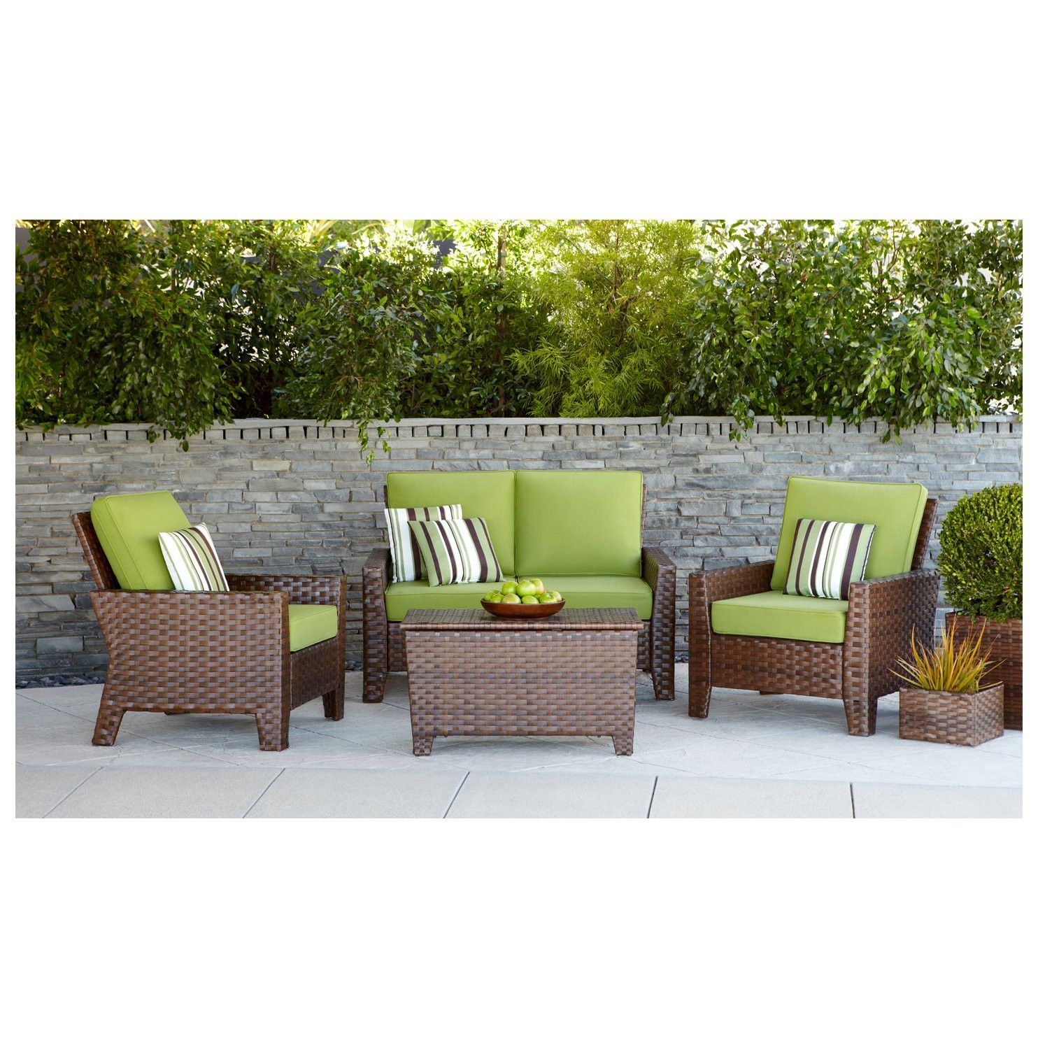 Payless Furniture Store Dining Room Tables: Belmont Brown Wicker Patio Conversation Furnitur