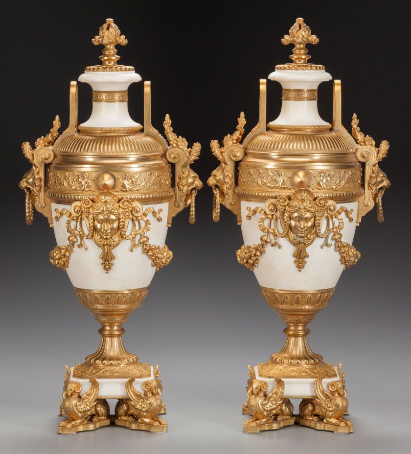 A pair of louis xvi style white marble urns with gilt bronze mounts early 20th century urn - Biombos chinos antiguos ...