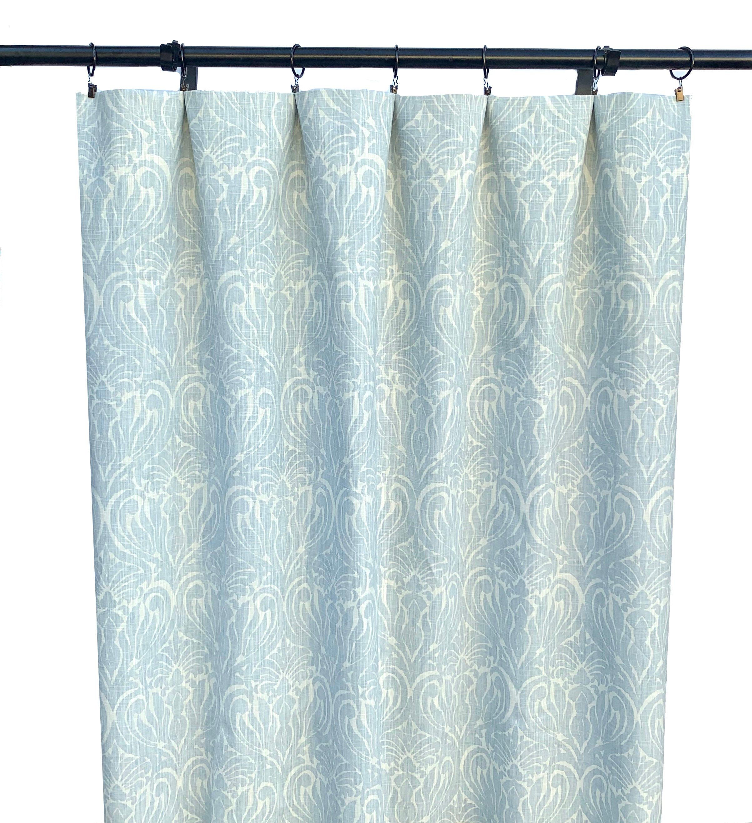 Ice Light Blue Curtain Panels 2 Curtain Panels Floral Blue