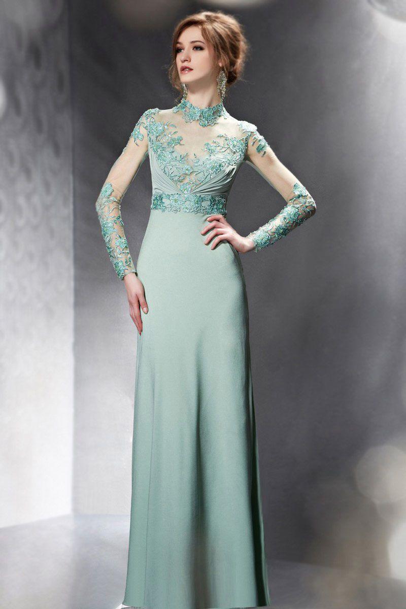 Modern Long Sleeves Embroidery Sheer Green Evening Dress UK ...