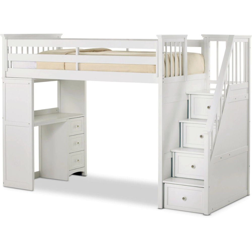 Flynn Loft Bed With Storage Stairs And Desk In 2020 Twin Loft