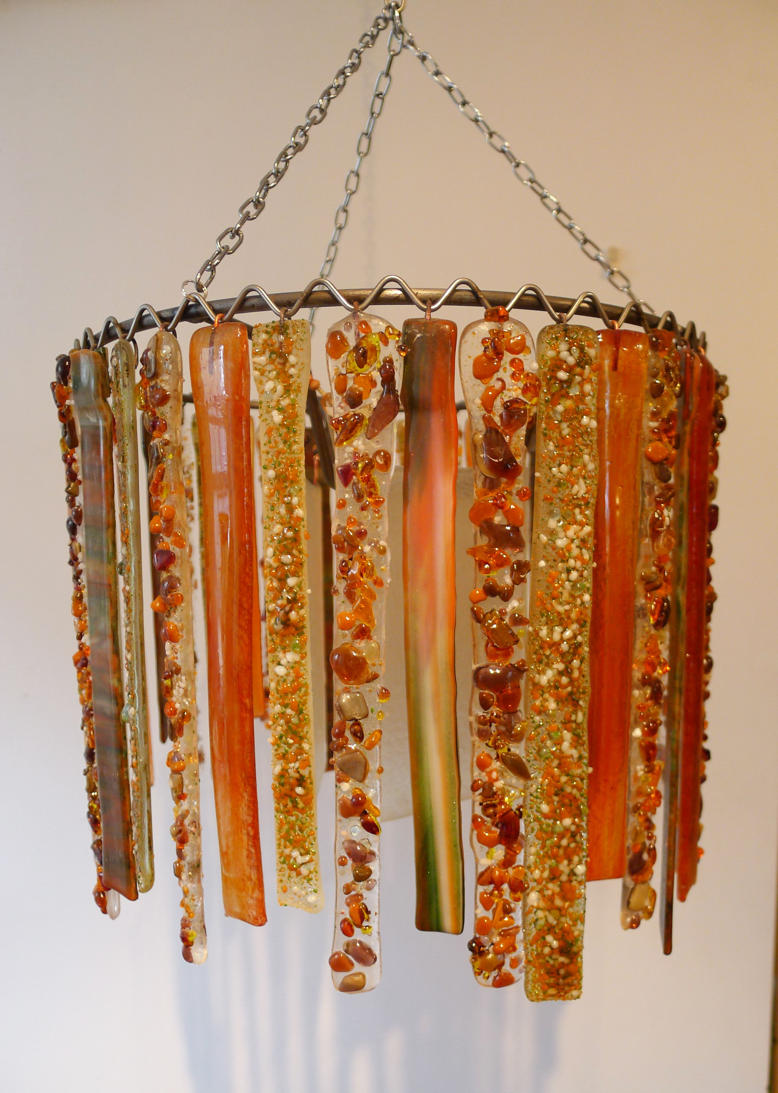 Lovers Lights recycled glass single tier chandlelier light. Tangerine and sea green. Commissioned by client. www.loverslights.com