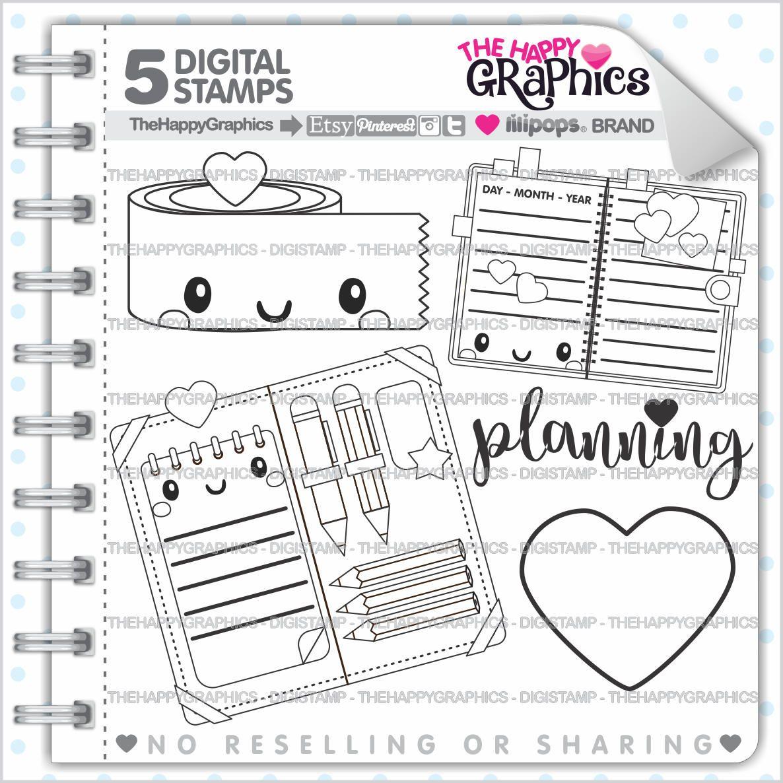 80%OFF - Planner Girl Stamps, Commercial Use, Digi Stamp, Digital Image, Planning Digistamp, Coloring Page, Planner Girl Cliparts