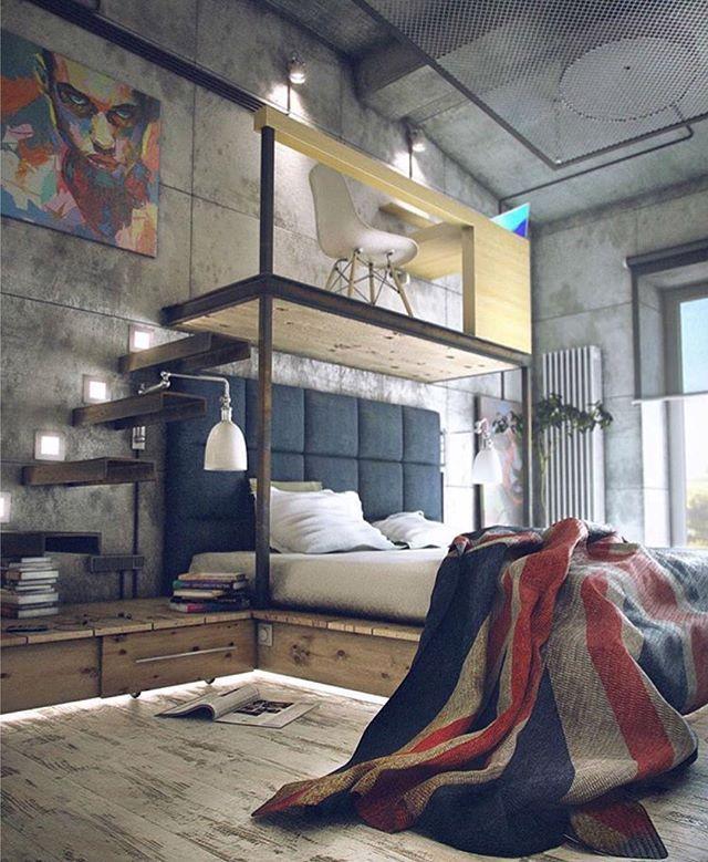Loft projetado por Maxim Zhukov. #arquitetura #arte #art #artlover #design #architecturelover #instagood #instacool #instadesign #instadaily #projetocompartilhar #shareproject #davidguerra #arquiteturadavidguerra #arquiteturaedesign #instabestu #decor #architect #criative #beds #rest #camas #descanso #maximzhukov