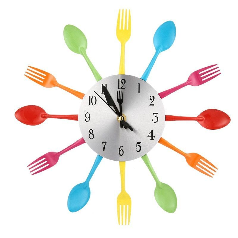 Buy Kitchen Clock Part - 49: 2 Colors Modern Sliver Multi-color Cutlery Kitchen Wall Clock Spoon Fork  Creative Wall Clocks