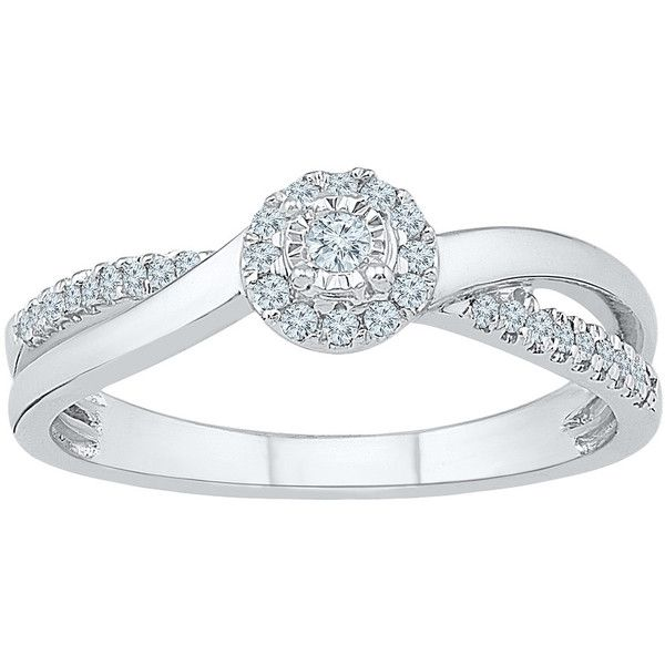 1/5 ct. tw. Diamond Promise Ring in 10K White Gold ($423) ❤ liked on Polyvore featuring jewelry, rings, white, criss-cross rings, white gold diamond rings, white ring, white gold jewelry and diamond accent rings