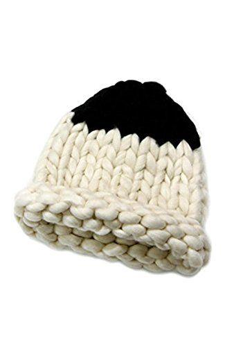 06b34b4f98b Knitting Factory Winter Hand Made Hat Selection Big Yarn Loopy Corn Pointy  Beanie (Ivory)