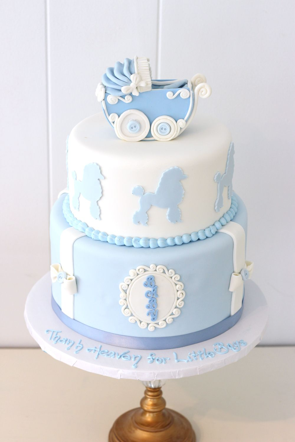 4246 Welcome Baby Baby Shower Two Tier Pram Cake (4)