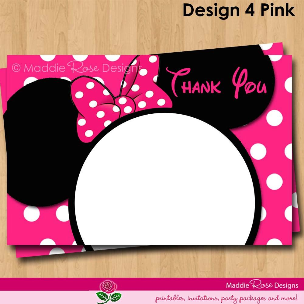 Minnie Mouse Thank You Note Printable, Red or Pink Birthday Party ...