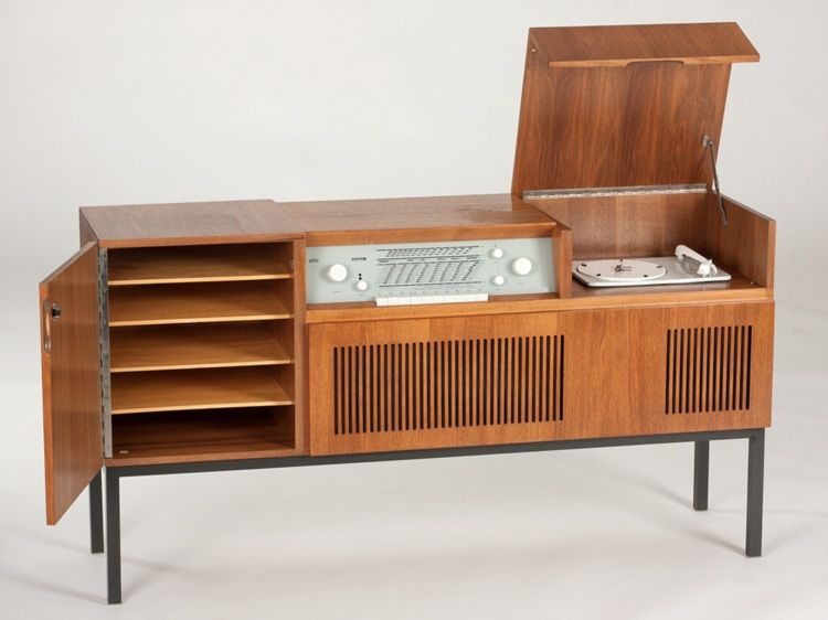 stereo cabinet vintage braun hm 5 stereo cabinet made of walnut germany 1959 26792