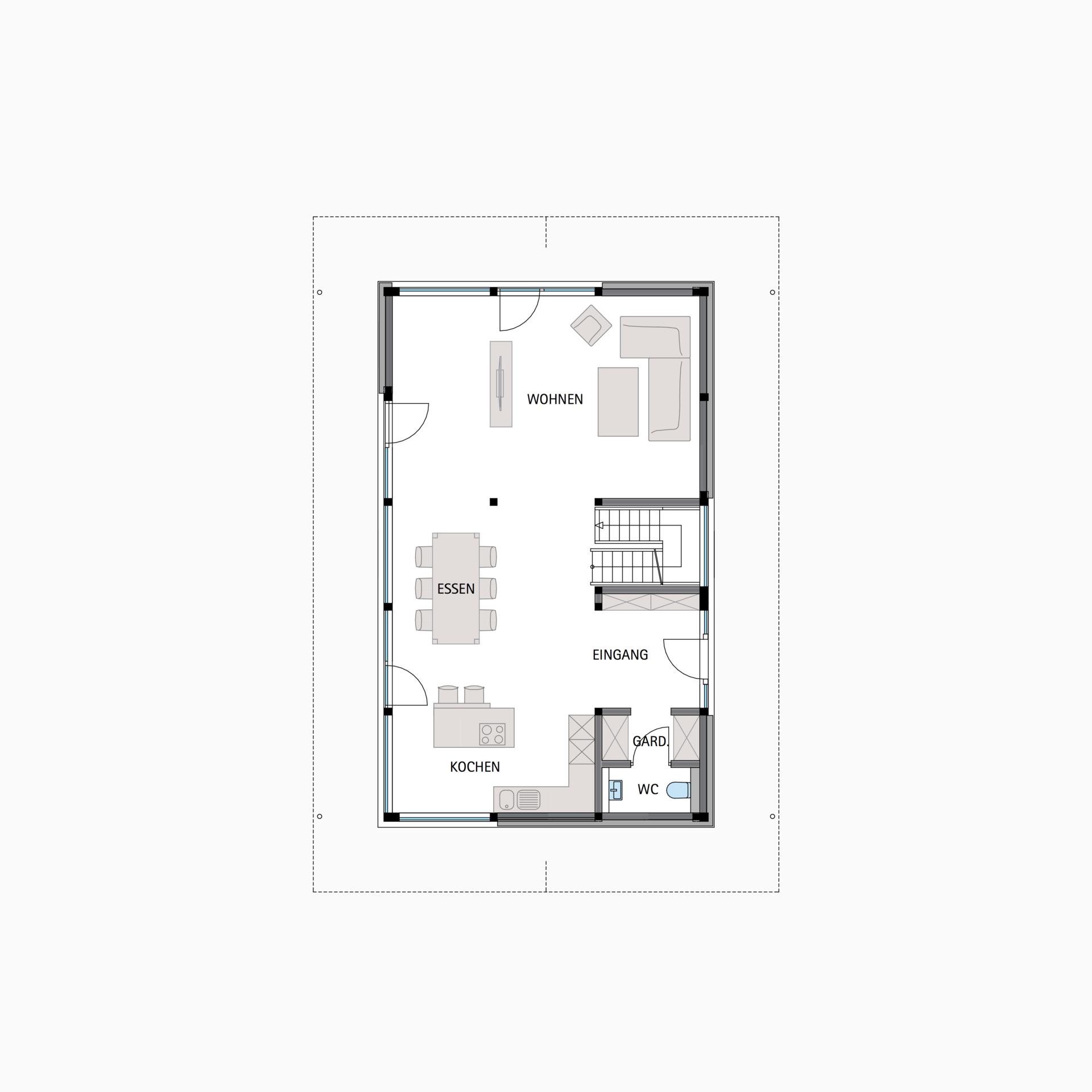 HUF Fachwerkhaus Grundriss Erdgeschoss MODUM 610