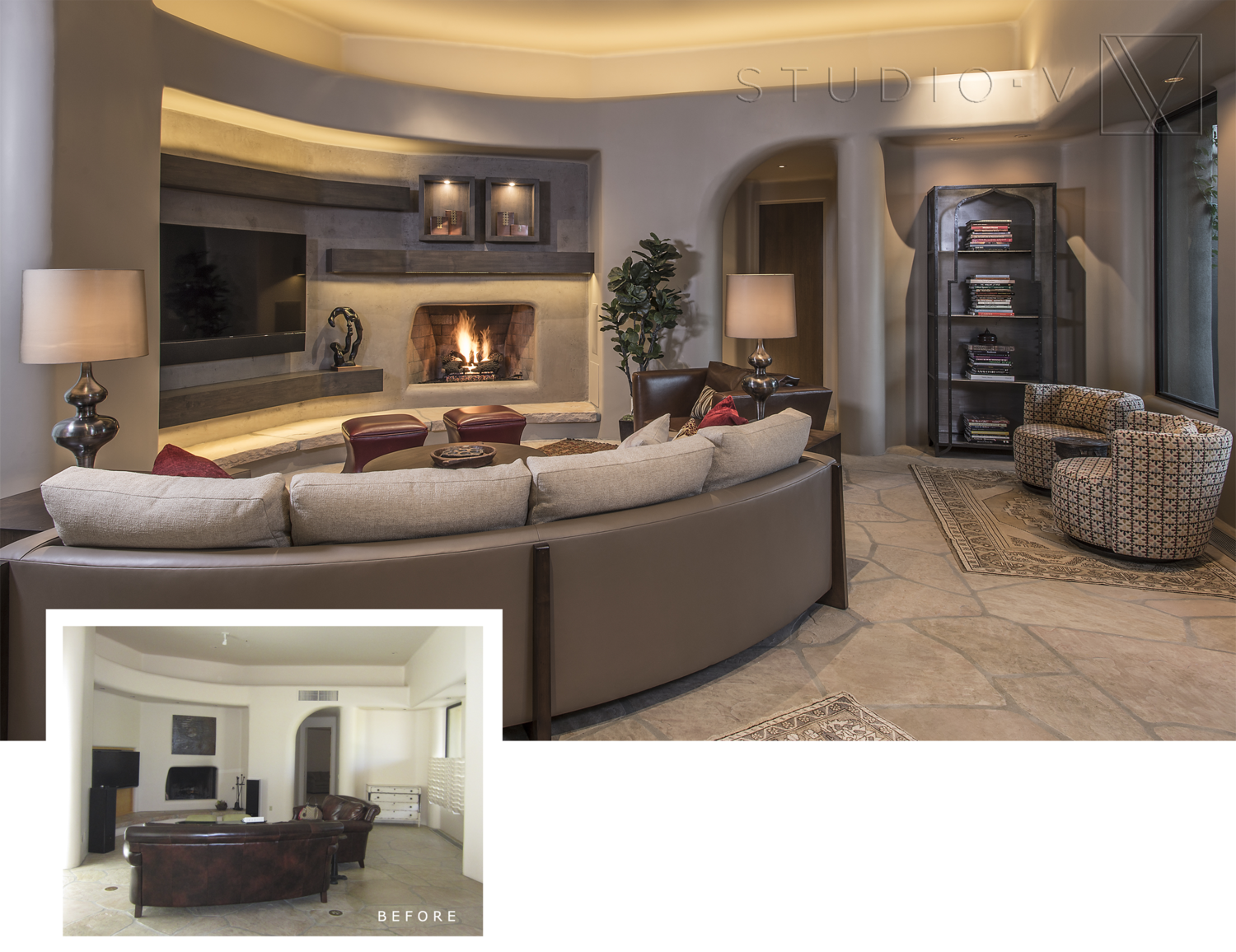01Great Room with TV Studio V Interiors Scottsdale AZ Arizona