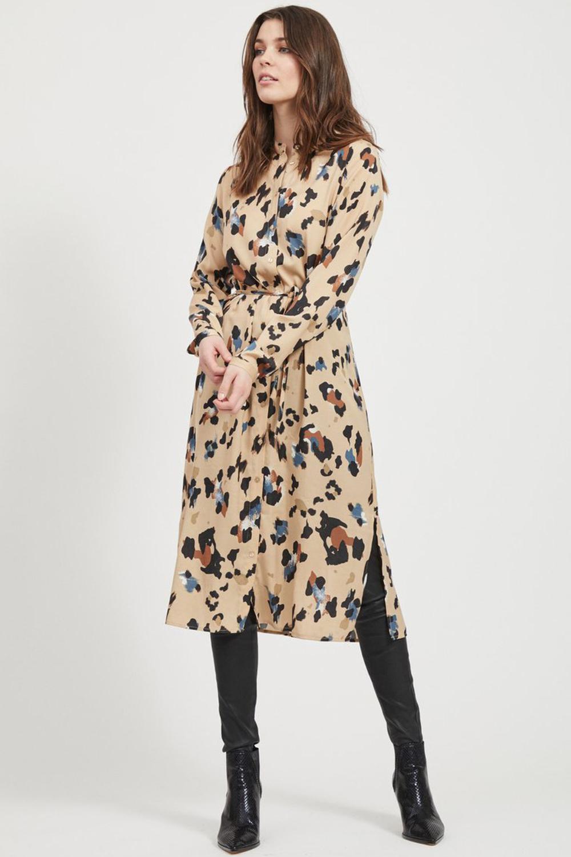 Vila jurk met leopardprint in 2020 Jurken, Jurk met lange
