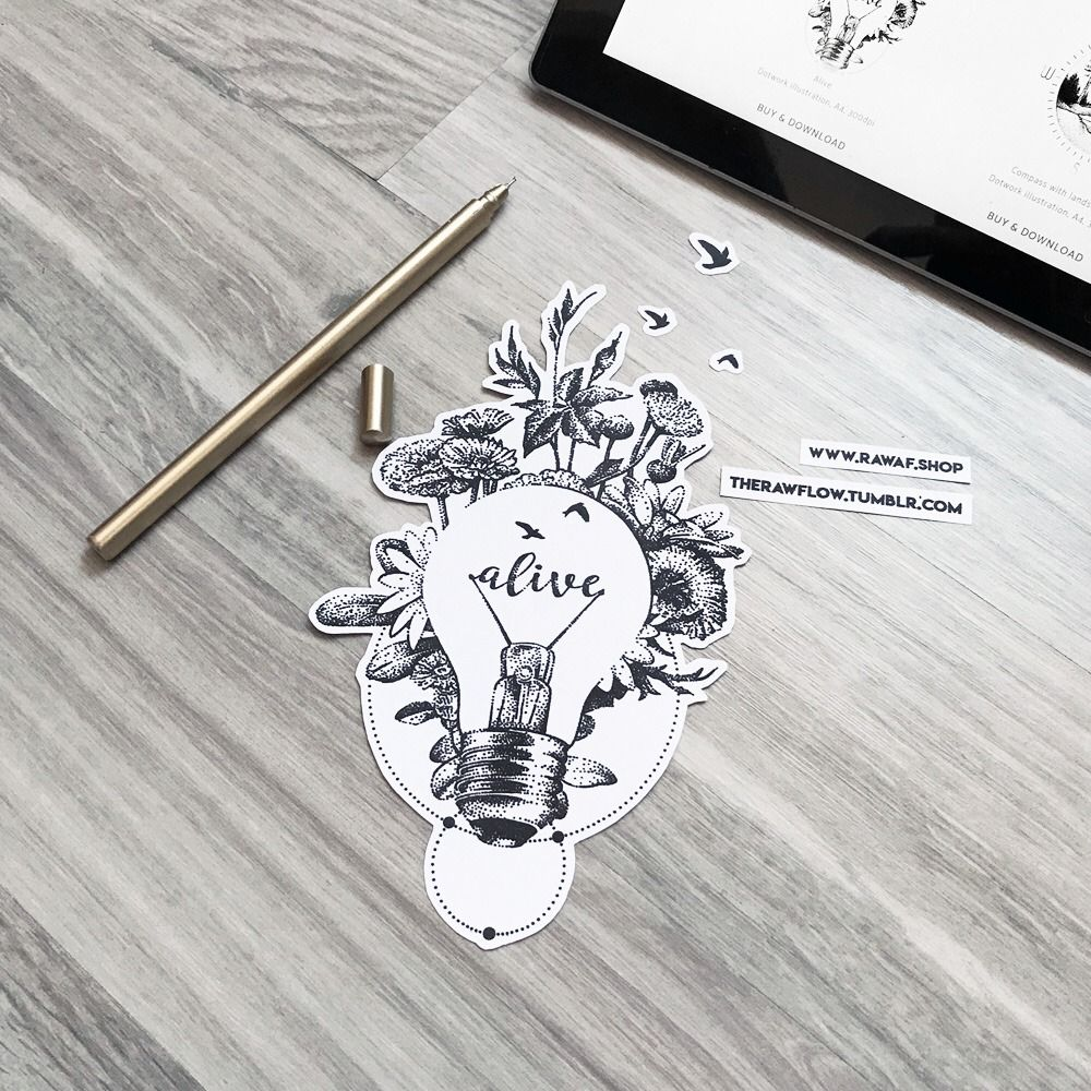 """""""Alive"""" Dotwork Lightbulb Design With Wildflowers And Bird"""