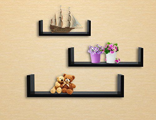 EWEI\'S HomeWares 3 Floating U Shelves, Walnut Finish EWEI\'S ...
