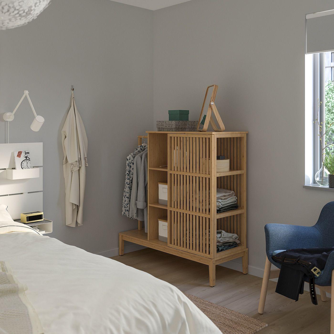 Nordkisa Open Wardrobe With Sliding Door Bamboo 47 1 4x48 3 8