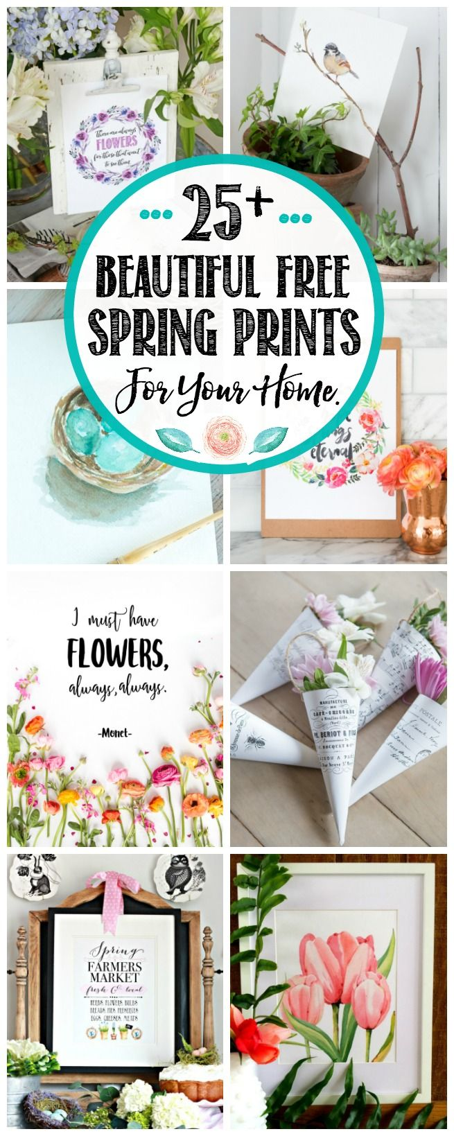 Gorgeous collection of free spring printables for your home.  Over 25 different designs to choose from.  Quick and easy spring decorating ideas!