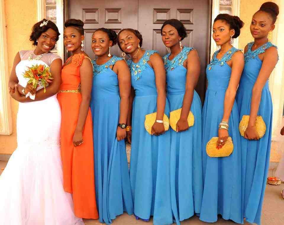 Orange Gown Wedding: Orange And Blue Bridesmaid Dresses