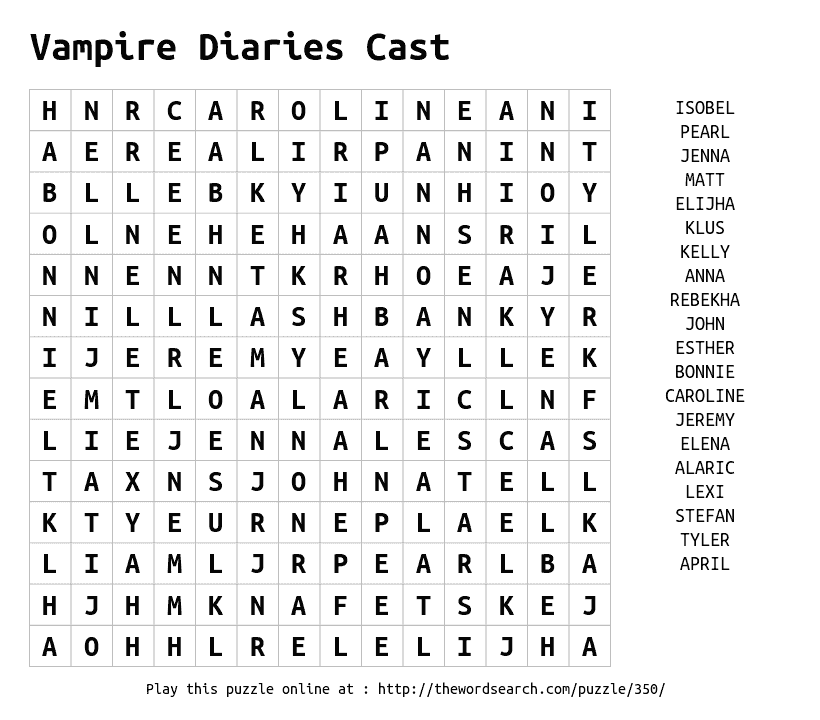 Play Word Search Puzzles On Line Including This One More At Https Thewordsearch Com Vampire Diaries Vampire Diaries Cast Word Puzzles For Kids