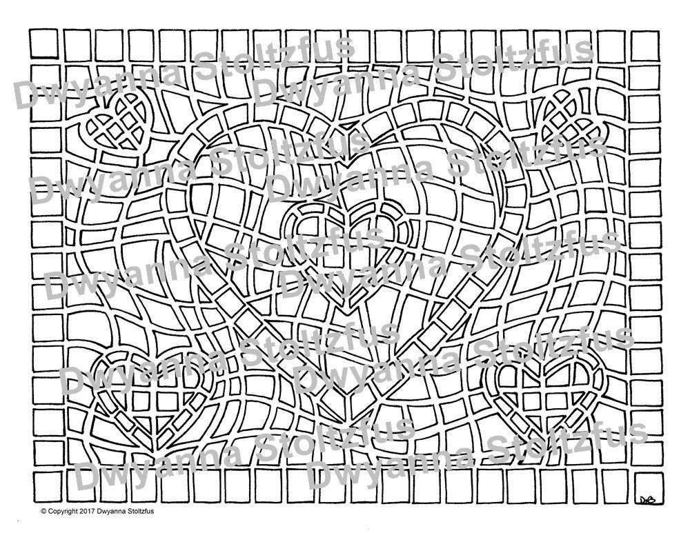 Mosaic Heart Coloring Page JPG | Heart coloring pages ...
