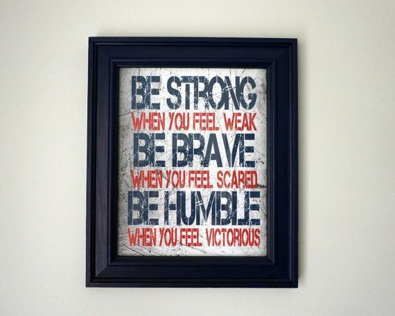 Strong brave humble printable boys room decor blue and for 8x10 bedroom ideas