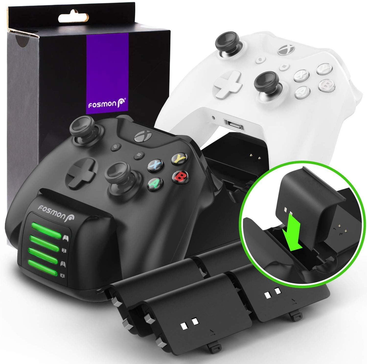 Fosmon Xbox One Quad Pro Controller Charger With 4 Rechargeable Battery Packs Upgraded Dual Dock In 2020 Xbox One Xbox One Elite Controller Xbox One Controller