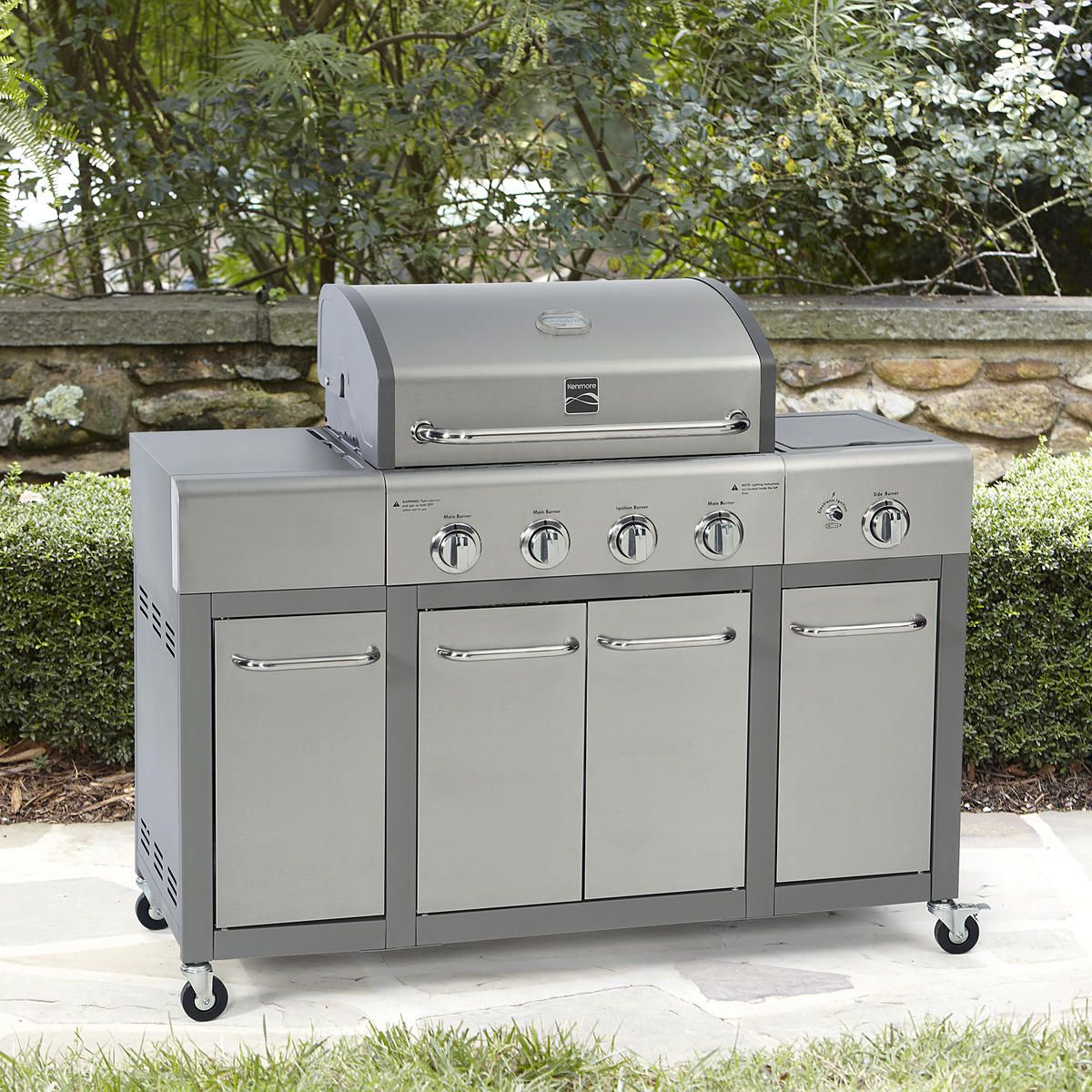 Kenmore Pg 40407solf 4 Burner Gas Grill With Storage Stainless Steel Sears Hometown Stores Gas Grill Best Gas Grills Outdoor Kitchen Cabinets